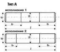 Шпилька ГОСТ 22034-76, Тип А