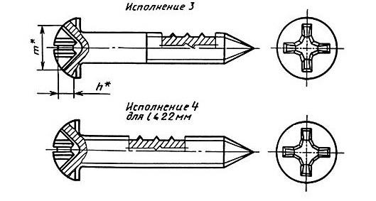 ШУРУПЫ ГОСТ 1144-80 С ПОТАЙНОЙ ГОЛОВКОЙ